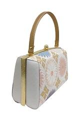 菊柄 ホワイトバッグ