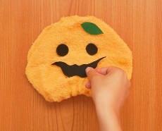 オレンジ フェイスタオル ハロウィン かぼちゃ 顔