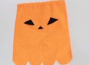 オレンジ 巾着袋 顔