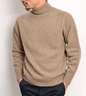 ハイネックセーター 茶系 メンズ