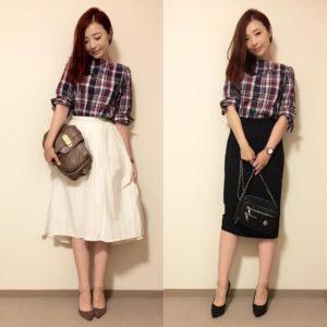 チェックシャツ 白のふんわりとしたスカート 黒のタイトスカート コーデ