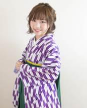 編み込みハーフアップ 着物
