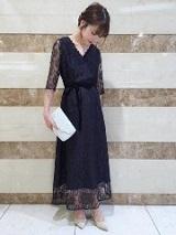 ワンピース 裾袖レース ロング丈