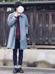 クリスマス 男性 コーデ グレー系コート