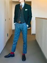 男性 クリスマス スーツ グリーン系