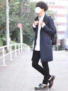 男性 ファッション ネイビーコート