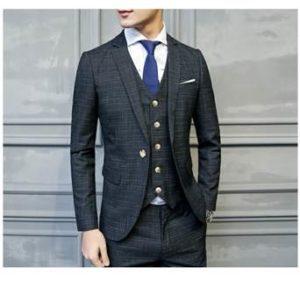 メンズスーツ チェック柄 ブラックネイビー