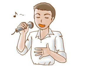 気持ちよく歌っている男性 イラスト