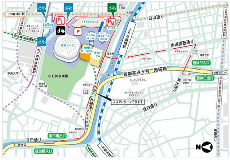 東京ドームシティ 駐車場 地図