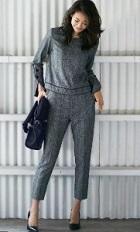 グレー 黒 入園式 パンツスーツ ママ