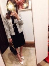 ジャケット ツィード 黒スカートスーツ 入園式 ママ
