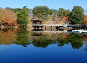 奈良公園 浮見堂 紅葉と逆さ紅葉