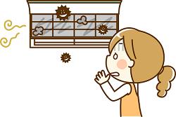 エアコン カビの匂い 女性 イラスト