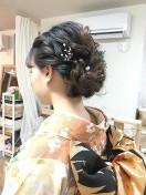 ミディアム 髪型 女性 着物