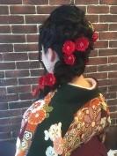 ロングヘア 編み込み 着物