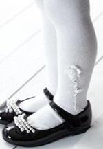 白いタイツ 花モチーフ