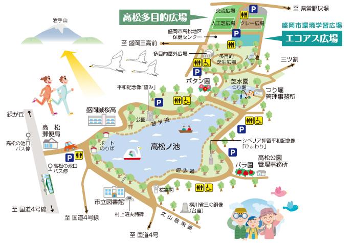 高松公園 駐車場 地図