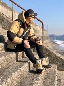 冬の海コーデ 男性