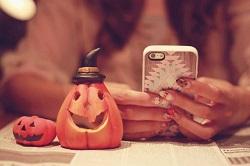 ハロウィンネイル スマホ かぼちゃ