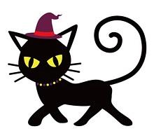 魔女の帽子をかぶった猫 イラスト
