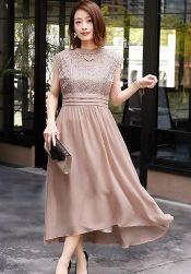 結婚式 ドレス ピンクベージュ