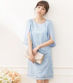 結婚式 女性 服装 アイスブルー ドレス