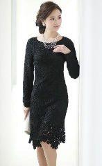 結婚式 レース素材 ドレス 黒