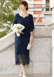 結婚式 ドレス ネイビー レース